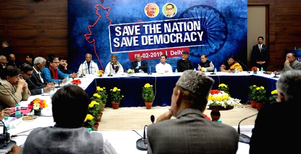 """Congress President Rahul Gandhi and DMK leader Kanimozhi during a programme on """"Save The Nation Save Democracy"""",  in New Delhi, on Feb 1, 2019. - Rahul Gandhi"""