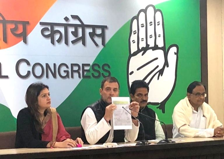 Congress president Rahul Gandhi and former finance minister P Chidambaram addressing a press conference in New Delhi on Feb. 8, 2019. - P Chidambaram and Rahul Gandhi