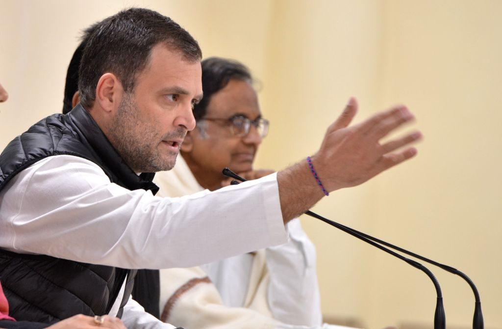 Congress president Rahul Gandhi and former finance minister P Chidambaram at a press conference in New Delhi on Feb. 8, 2019. - P Chidambaram and Rahul Gandhi