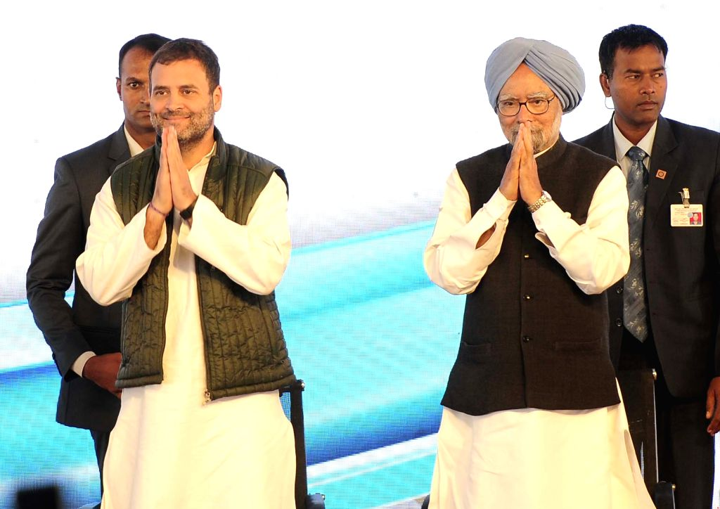 Congress President Rahul Gandhi and party leader Manmohan Singh at the re-launch of  'Navjivan' - a Commemorative Publication to mark the 150 Years of Mahatma Gandhi, in Punjab's Mohali on ... - Rahul Gandhi and Manmohan Singh