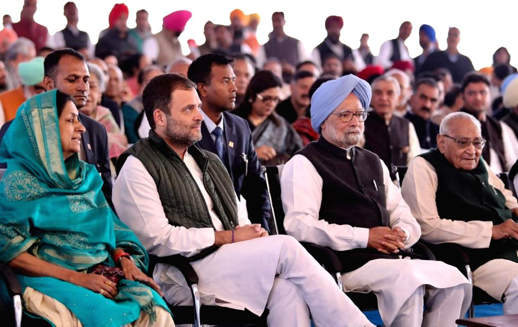 Congress President Rahul Gandhi and party leaders Manmohan Singh and Motilal Vora at the re-launch of  'Navjivan' - a Commemorative Publication to mark the 150 Years of Mahatma Gandhi, in ... - Rahul Gandhi and Manmohan Singh