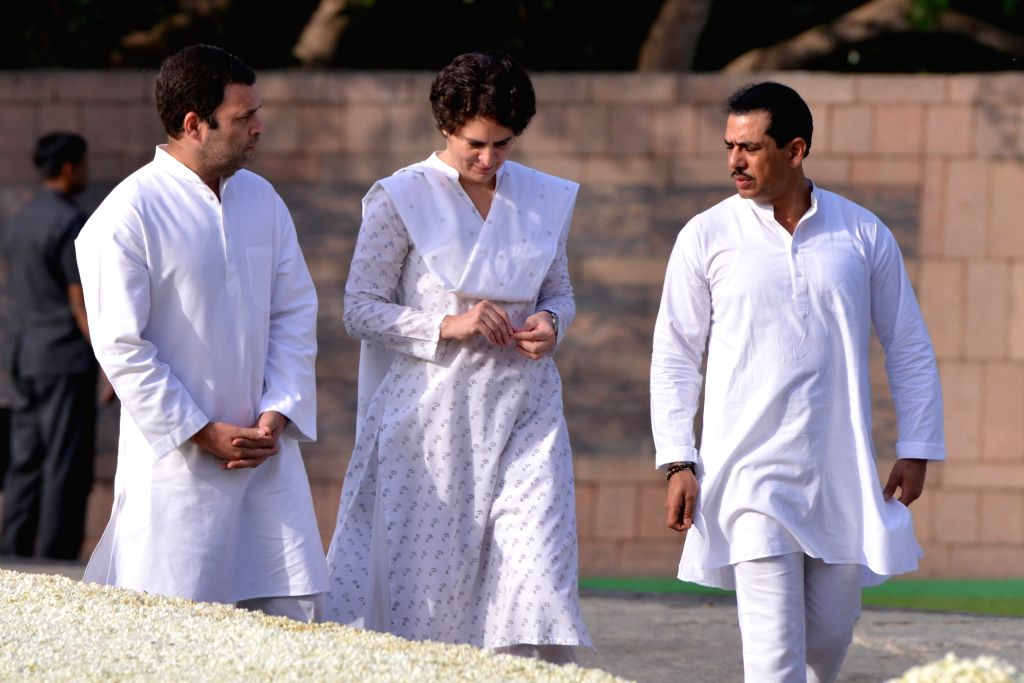 Congress President Rahul Gandhi and Priyanka Gandhi and her husband Robert Vadra pay homage to former Prime Minister Rajiv Gandhi on his 27th death anniversary at Vir Bhumi in New Delhi on ... - Rajiv Gandhi, Rahul Gandhi and Priyanka Gandhi