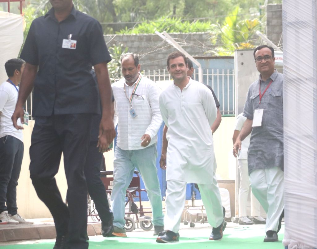 Congress President Rahul Gandhi arrives to cast his vote during the sixth phase of 2019 Lok Sabha elections, in New Delhi on May 12, 2019. - Rahul Gandhi