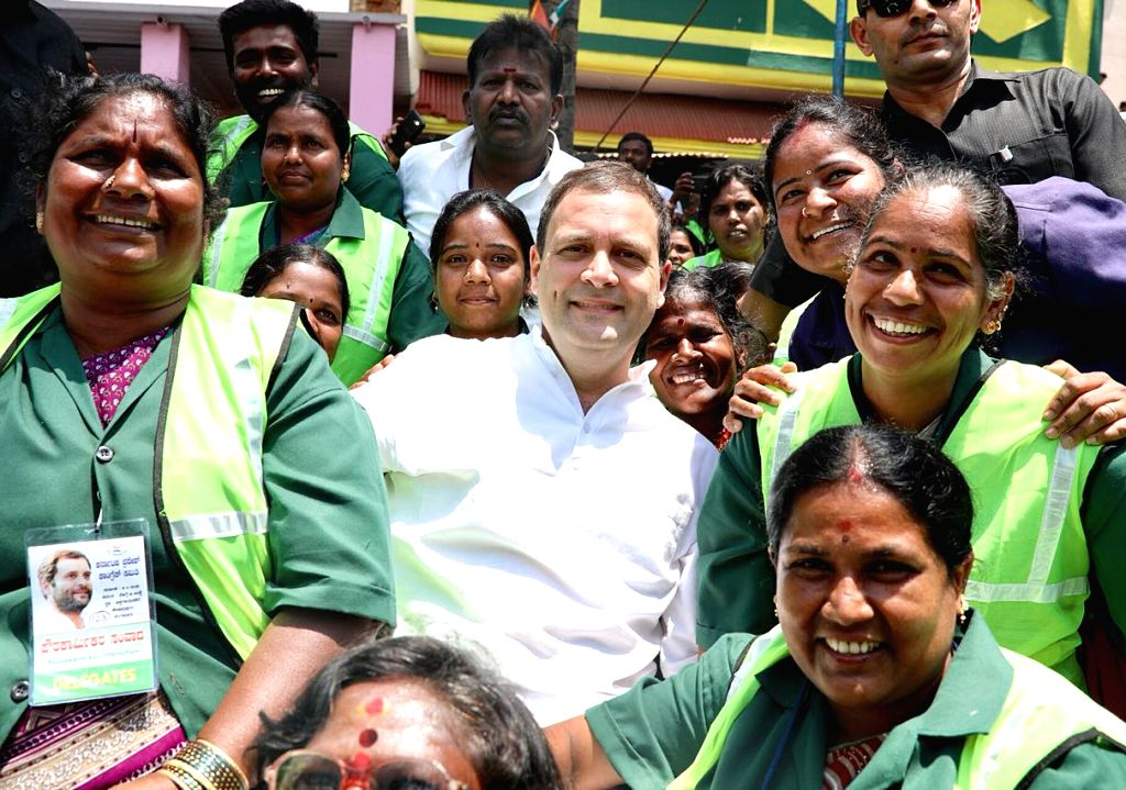 "Congress President Rahul Gandhi at a programme where he met and interacted with Bruhat Bengaluru Mahanagara Palike (BBMP) sanitation workers during ""Janashirvada Rally"", in ... - Rahul Gandhi"