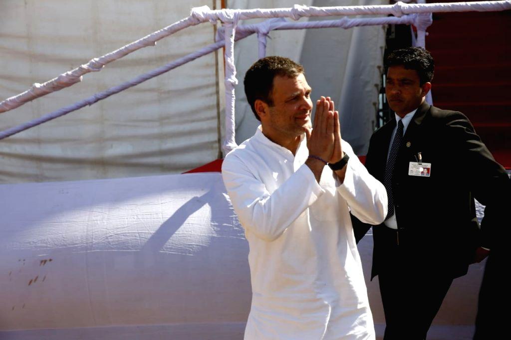 Congress President Rahul Gandhi at a public meeting in Ajmer, on Feb 14, 2019. - Rahul Gandhi
