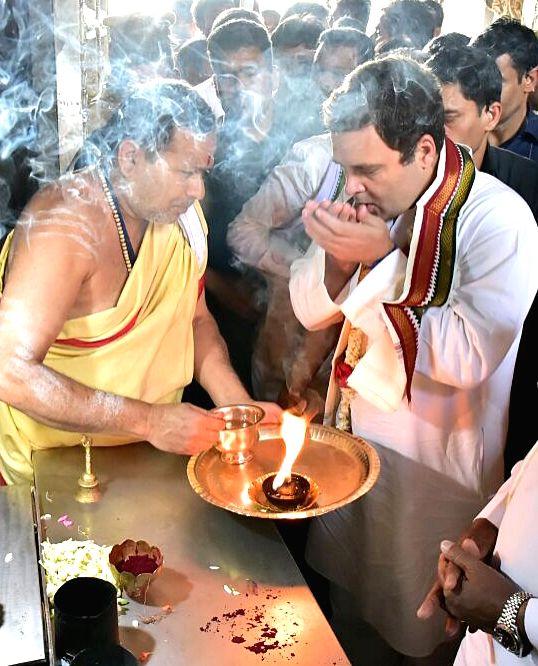 Congress President Rahul Gandhi at Chamundeshwari Temple during Jan Ashirwad Yatra in Mysuru on March 24, 2018. - Rahul Gandhi
