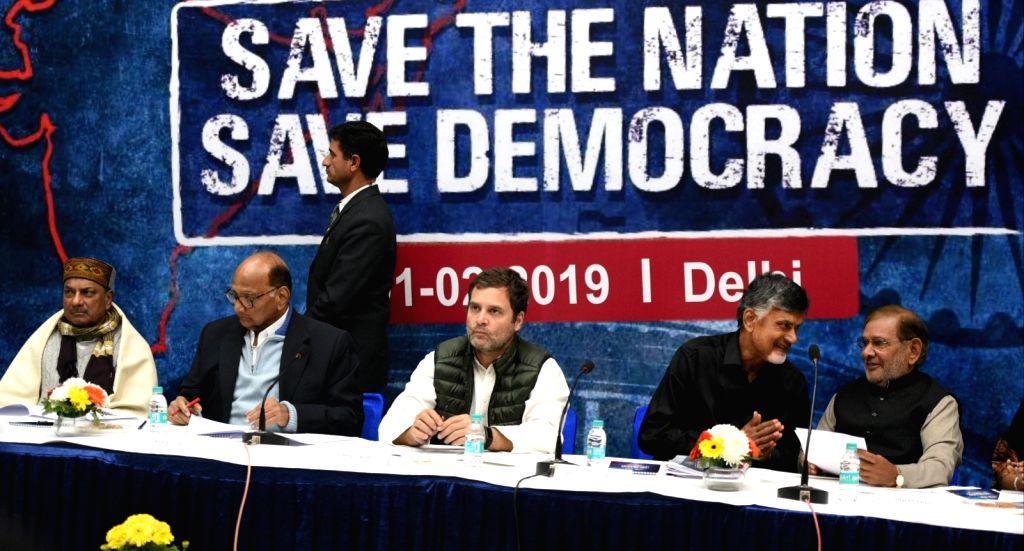 Congress President Rahul Gandhi (C) with NCP chief Sharad Pawar, TDP chief Chandrababu Naidu, Congress leader A. K. Antony and Loktantrik Janata Dal leader Sharad Yadav during a programme ... - Rahul Gandhi, Chandrababu Naidu and Sharad Yadav