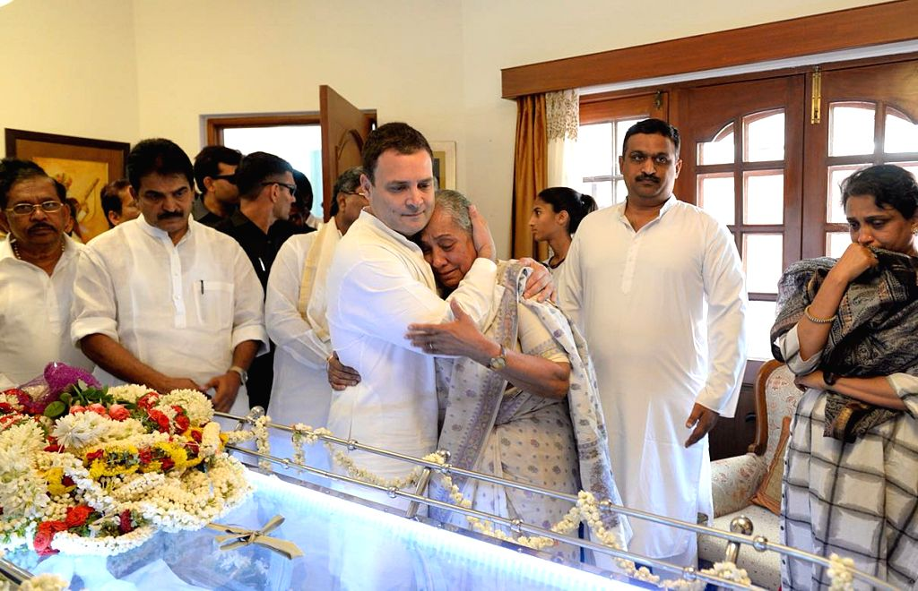 Congress President Rahul Gandhi condoles former Rajasthan Governor Margaret Alva after her husband Niranjan Alva, a Supreme Court lawyer passed away at a hospital on Saturday; at her ... - Rahul Gandhi
