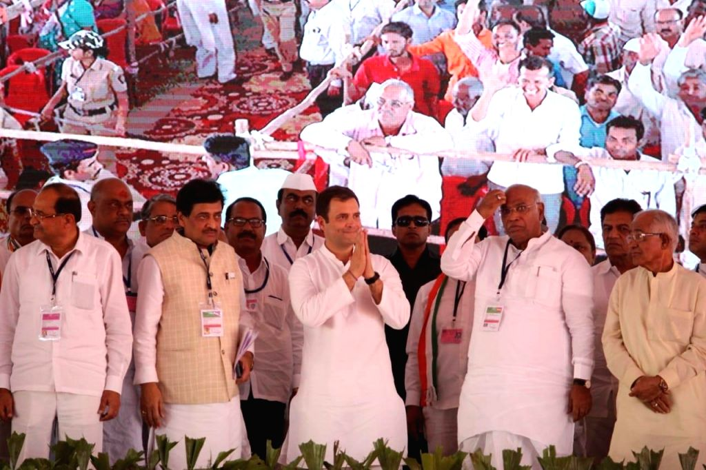 Congress President Rahul Gandhi during a party rally in Dhule, Maharashtra on March 1, 2019. - Rahul Gandhi