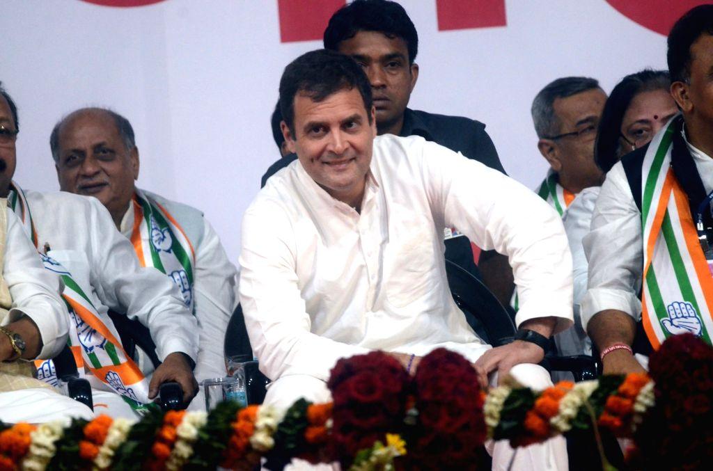 Congress President Rahul Gandhi during a party rally in Mumbai, on March 1, 2019. - Rahul Gandhi