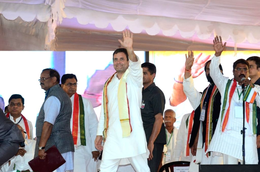 Congress President Rahul Gandhi during a party rally in Telangana's Shamshabad on March 9, 2019. - Rahul Gandhi