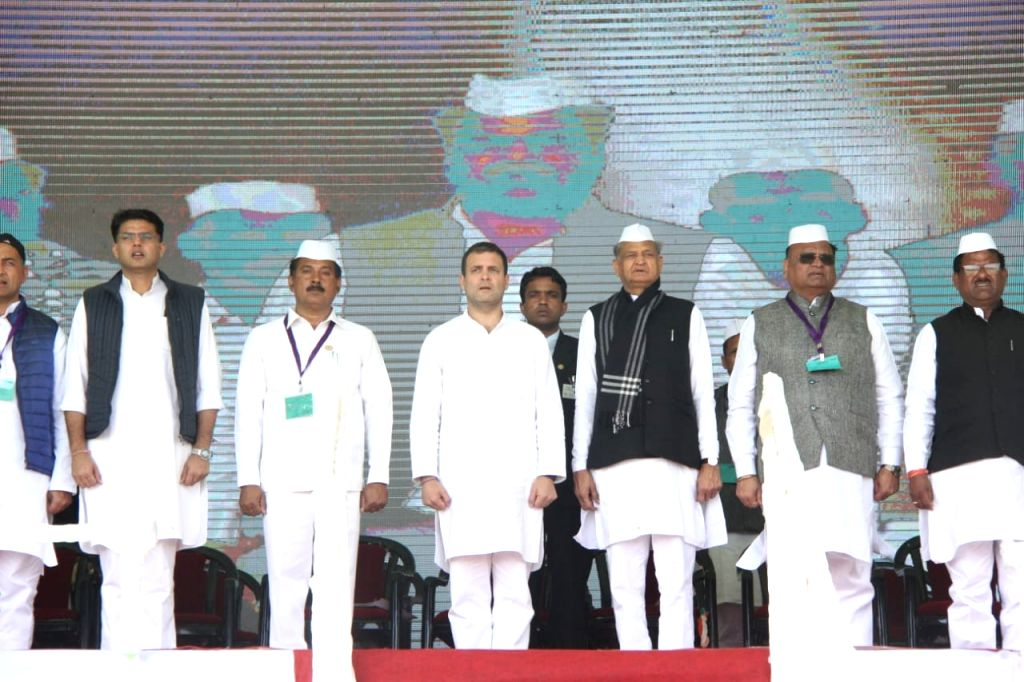 Congress President Rahul Gandhi during a public meeting in Ajmer, on Feb 14, 2019. Also seen Rajasthan Chief Minister Ashok Gehlot, Deputy Chief Minister Sachin Pilot and other dignitaries. - Ashok Gehlot and Rahul Gandhi