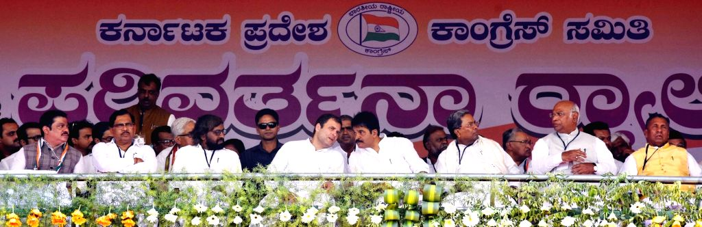 Congress President Rahul Gandhi during a public meeting in Haveri, Karnataka on March 9, 2019. - Rahul Gandhi