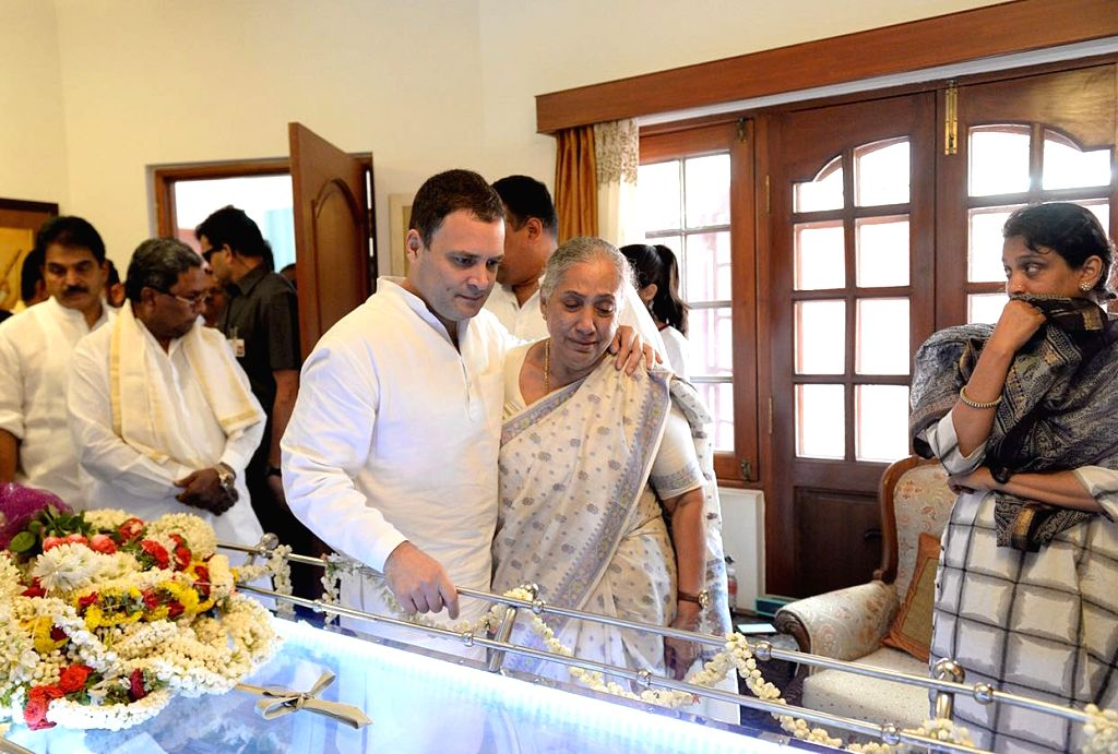 Congress President Rahul Gandhi during his visit to former Rajasthan Governor Margaret Alva's residence to pay his condolences to her husband Niranjan Alva, a Supreme Court lawyer who ... - Rahul Gandhi