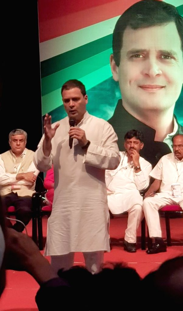 "Congress President Rahul Gandhi interacts with industrialists during ""Janashirvadha Yatra"", in Bengaluru on April 8, 2018. - Rahul Gandhi"