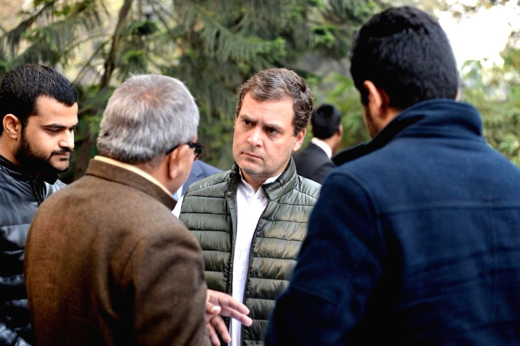 Congress President Rahul Gandhi interacts with party workers at Congress headquarters, in New Delhi, on Feb 5, 2019. - Rahul Gandhi