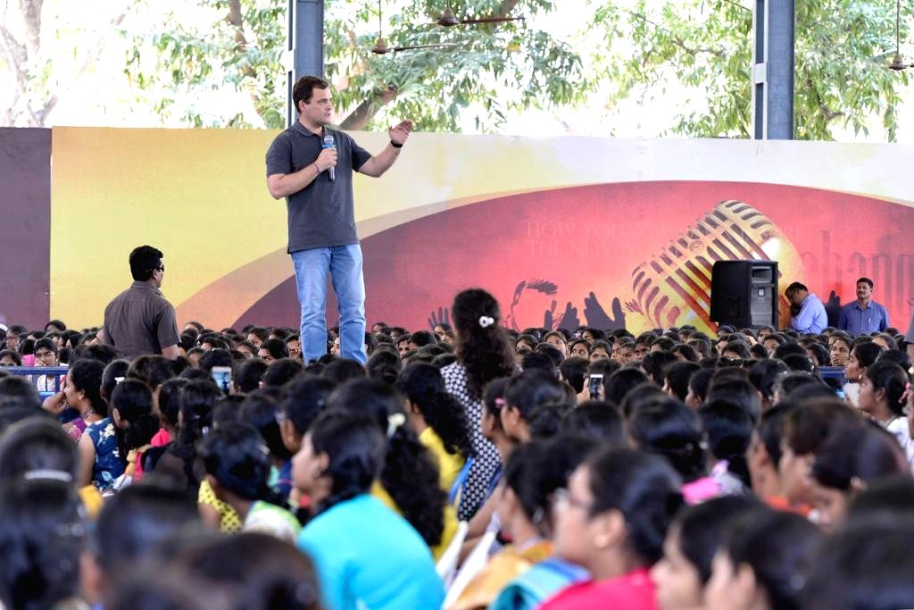 Congress President Rahul Gandhi interacts with students in Chennai, on March 13, 2019. - Rahul Gandhi