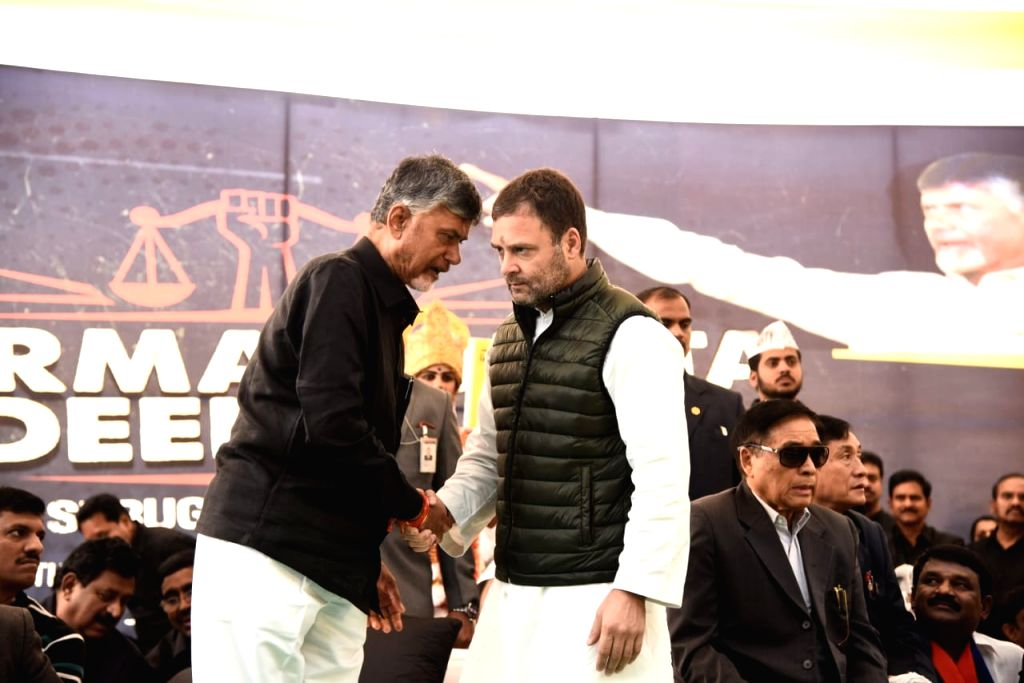 Congress president Rahul Gandhi joins Andhra Pradesh Chief Minister N. Chandrababu Naidu who is sitting on a fast demanding special category status for Andhra Pradesh at AP Bhawan, New ... - N. Chandrababu Naidu and Rahul Gandhi