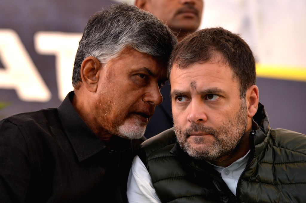 Congress President Rahul Gandhi joins Andhra Pradesh Chief Minister N. Chandrababu Naidu who is sitting on a fast to demand special category status for Andhra Pradesh at Andhra Bhawan, in ... - N. Chandrababu Naidu and Rahul Gandhi