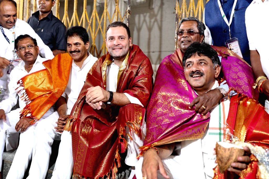 "Congress President Rahul Gandhi, Karnataka Chief Minister Siddaramaiah, state party president G. Parameshwara and other leaders of the party during ""Janashirvada Rally"" in ... - Siddaramaiah and Rahul Gandhi"