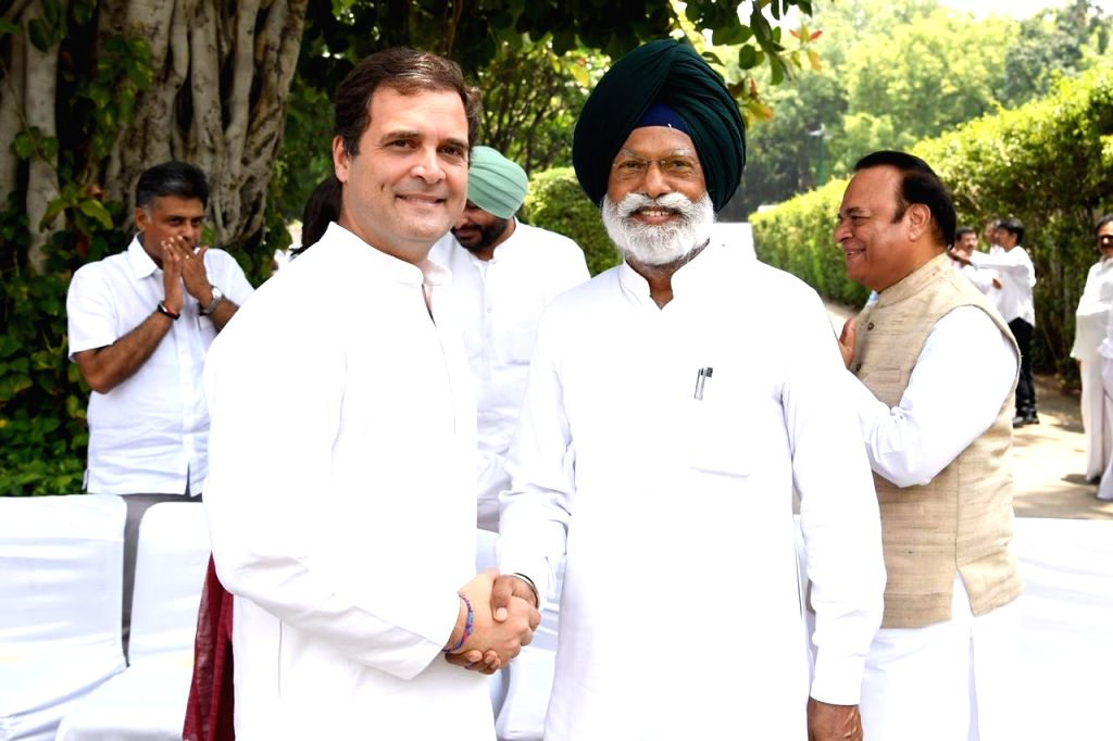 Congress President Rahul Gandhi meets a newly elected MP of the party, in New Delhi on June 1, 2019. - Rahul Gandhi
