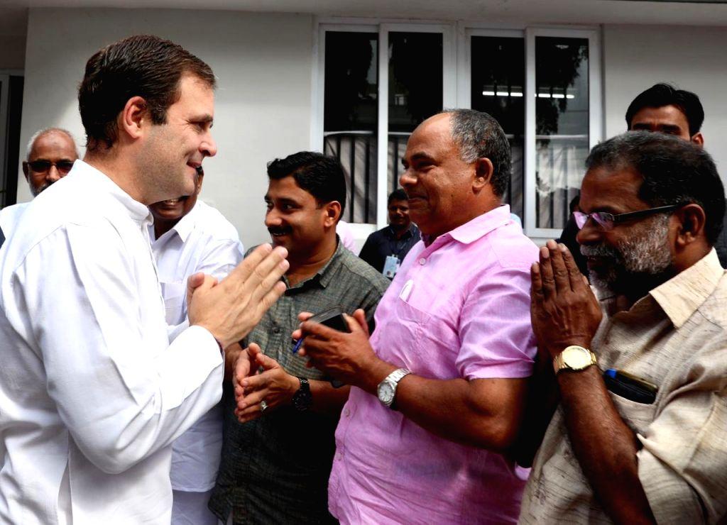 Congress President Rahul Gandhi meets supporters during his visit to Kalpetta in Kerala's Wayanad, on June 8, 2019. - Rahul Gandhi