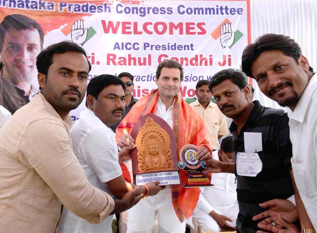"Congress President Rahul Gandhi meets traders during ""Janashirvada Rally"" in Karnataka's Davanagere on April 4, 2018. - Rahul Gandhi"