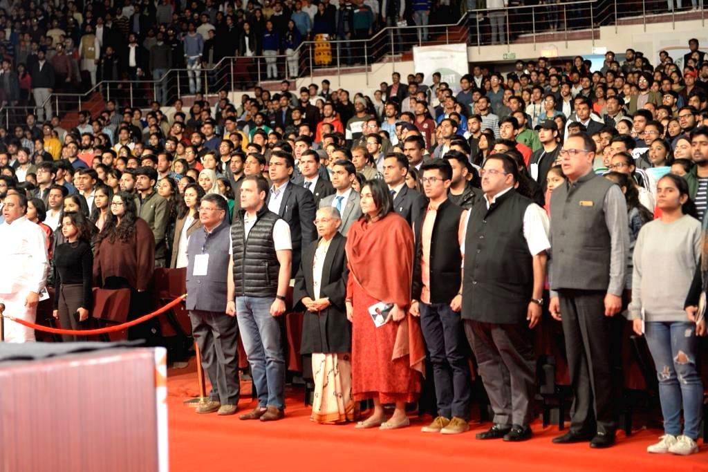 Congress President Rahul Gandhi, party leader Sheila Dikshit and others during a party programme at Jawaharlal Nehru Stadium in New Delhi on Feb 23, 2019. - Rahul Gandhi and Sheila Dikshit