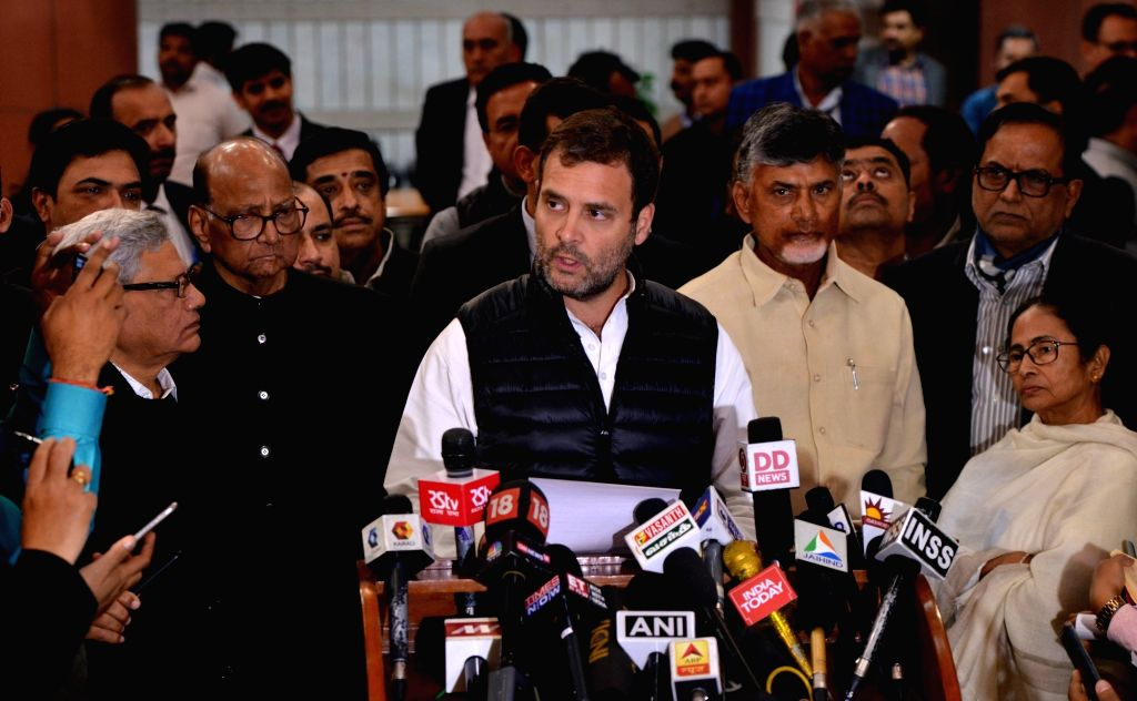 Congress President Rahul Gandhi talks to media person after opposition parties' meeting in New Delhi on Feb 27, 2019. - Rahul Gandhi