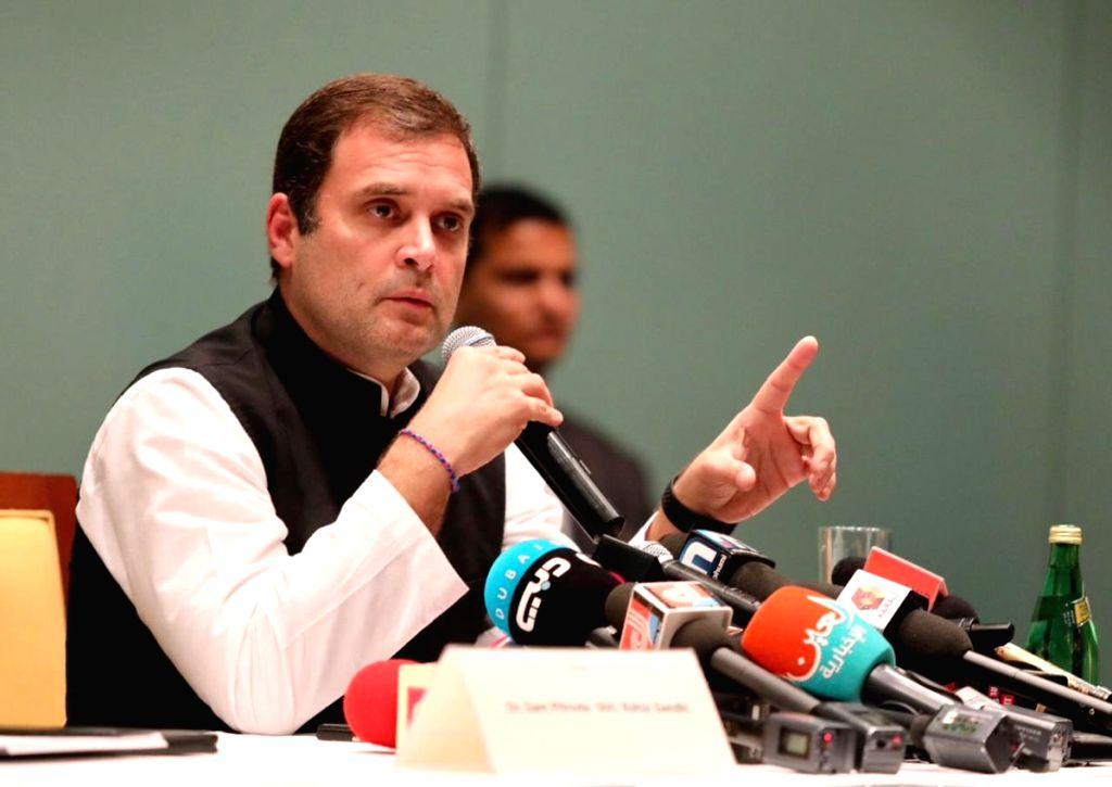 Congress President Rahul Gandhi talks to press in Dubai, on Jan 12, 2019. - Rahul Gandhi