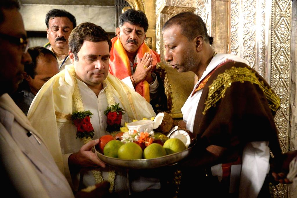 Congress President Rahul Gandhi visits Chamundeshwari Temple during Jan Ashirwad Yatra in Mysuru on March 24, 2018. - Rahul Gandhi