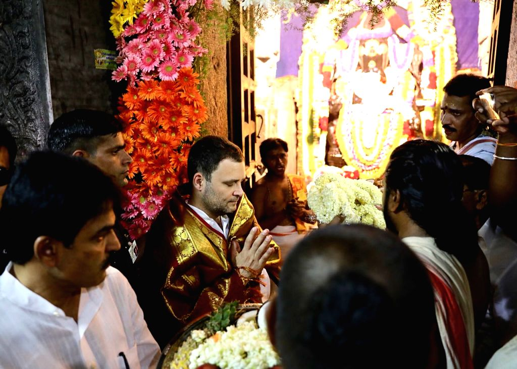 "Congress President Rahul Gandhi visits Kurudumale Ganapathi temple during ""Janashirvada Rally"" in Karnataka's Kolar on April 7, 2018. - Rahul Gandhi"