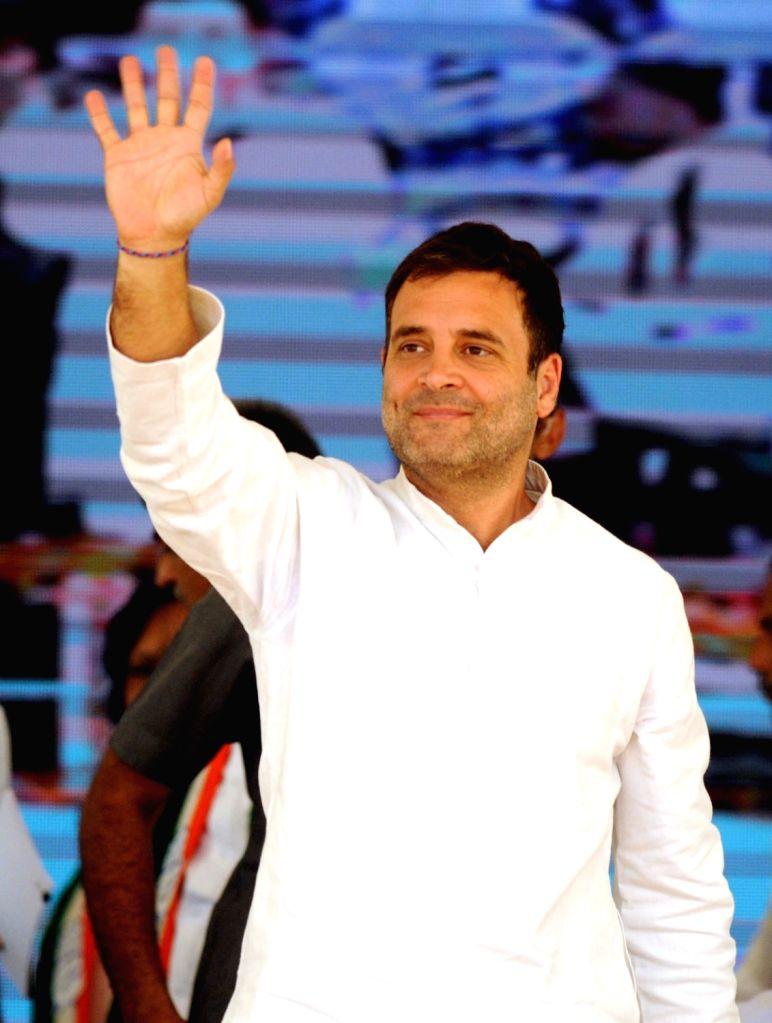 Congress President Rahul Gandhi waves at supporters during a public rally in Karnataka's Kolar, on April 13, 2019. - Rahul Gandhi