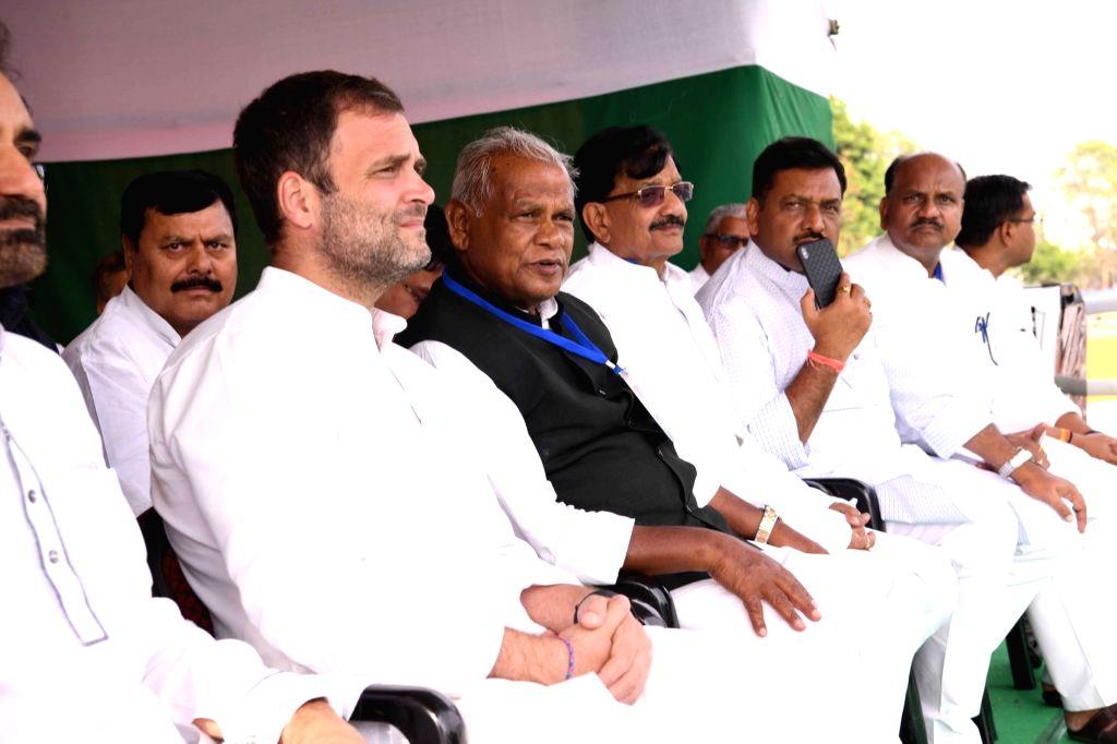 Congress President Rahul Gandhi with HAM leader Jitan Ram Manjhi during a Congress rally in Gaya, Bihar on April 9, 2019. - Rahul Gandhi