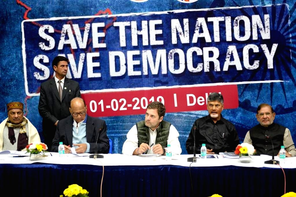 Congress President Rahul Gandhi with NCP chief Sharad Pawar, TDP chief Chandrababu Naidu, Congress leader A. K. Antony, Loktantrik Janata Dal leader Sharad Yadav and DMK leader Kanimozhi ... - Rahul Gandhi, Chandrababu Naidu and Sharad Yadav