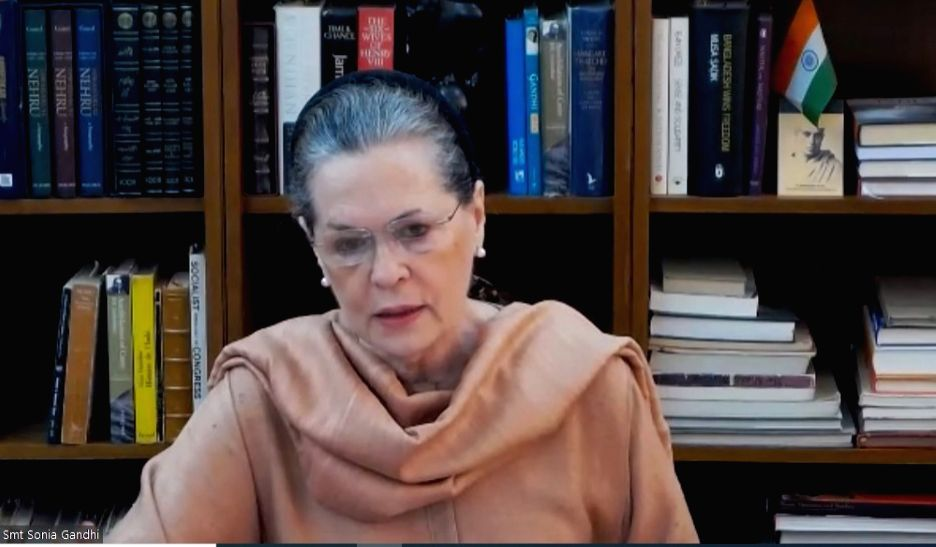 Congress President Sonia Gandhi chairs the Congress Working Committee (CWC) Meeting via vdeo conferencing on Thursday during the 21-day nationwide lockdown (that entered its 9th day) imposed as a precautionary measure to contain the spread of coronav - Sonia Gandhi