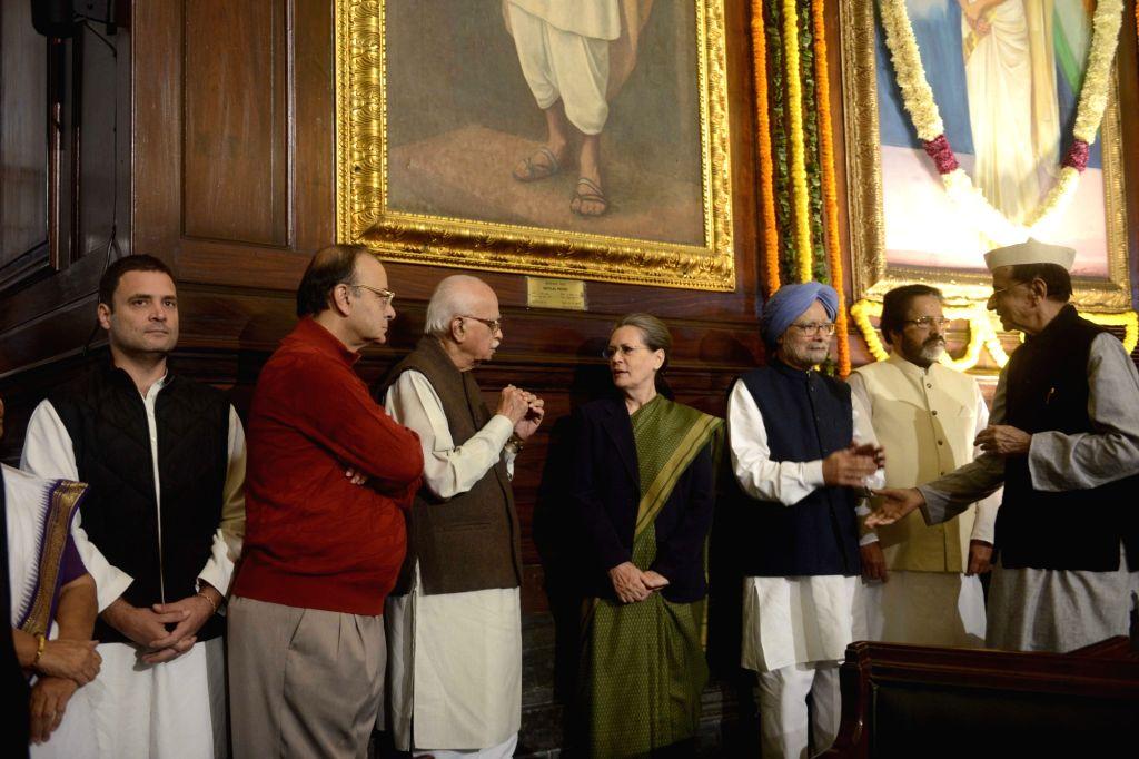 Congress president Sonia Gandhi, former Prime Minister Manmohan SIngh, senior BJP leader LK Advani, Union Finance Minister Arun Jaitley, Congress vice president Rahul Gandhi paying tribute ... - Manmohan S, Sonia Gandhi, Arun Jaitley, Rahul Gandhi and Indira Gandhi