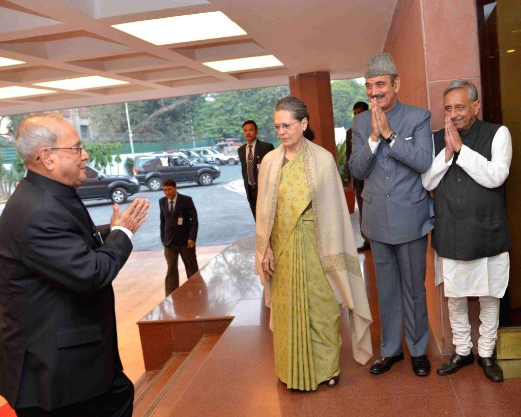 Congress president Sonia Gandhi, senior leader Ghulam Nabi Azad and Mani Shankar Aiyar greets the President Pranab Mukherjee at the Indira Gandhi Centenary Lecture being organised on the ... - Indira Gandhi, Sonia Gandhi and Pranab Mukherjee