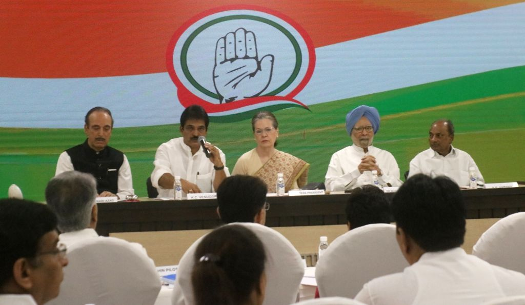 Congress President Sonia Gandhi with party leaders Ghulam Nabi Azad, K. C. Venugopal, Dr Manmohan Singh and A. K. Antony during a meeting at Congress Headquarters in New Delhi on Sep 12, ... - Sonia Gandhi and Manmohan Singh