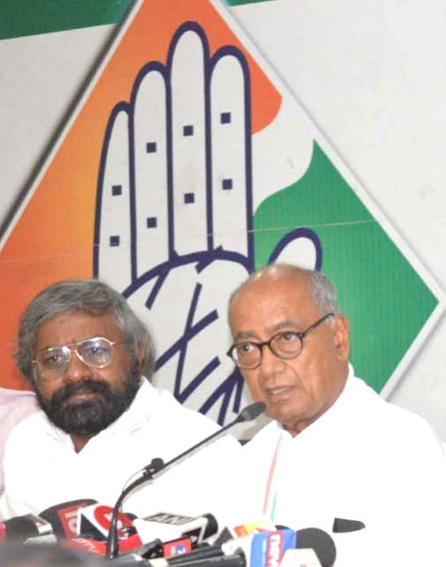 Congress Rajya Sabha MP Digvijay Singh addresses a press conference in Bengaluru on March 19, 2020. - Digvijay Singh