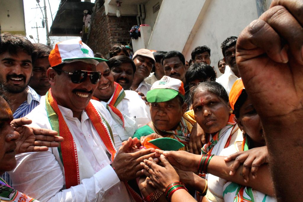 Congress's Khairtabad candidate for upcoming Assembly elections in Andhra Pradesh D Nagendra during an election campaign in Ambedkar Nagar, Film Nagar of Hyderabad on April 21, 2014.