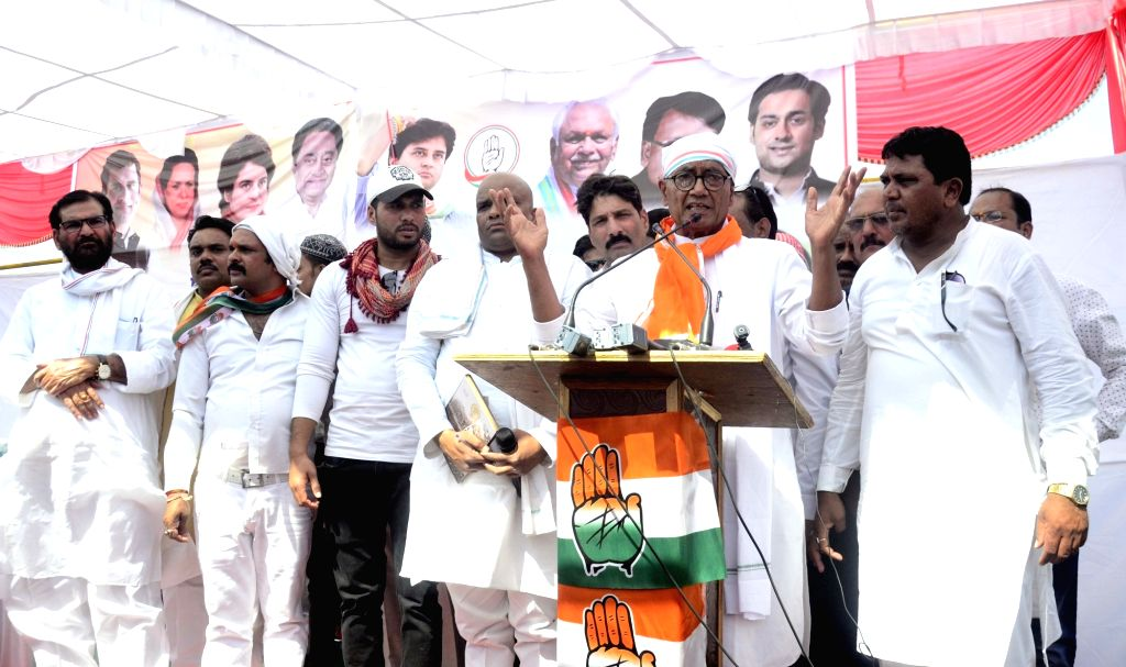 Congress's Lok Sabha candidate from Bhopal, Digvijaya Singh addresses during a public rally in Bhopal, on April 24, 2019. - Digvijaya Singh