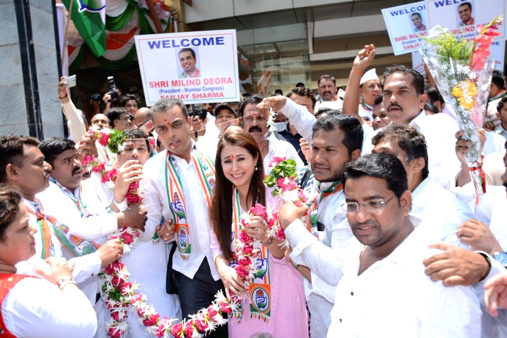 Congress's Lok Sabha candidate from Mumbai North constituency, Urmila Matondkar and party leader Milind Deora  during inauguration of a party office in Mumbai on April 10, 2019.