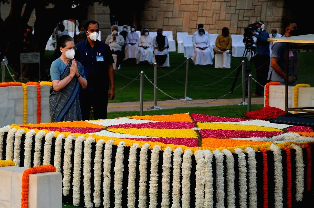 Congress senior leaders Sonia Gandhi during 152nd Birth Anniversary of Mahatma Gandhi, Sarva Dharma Prarthana at Gandhi Samadhi Rajghat in New Delhi on Saturday, 02, 2021. - Sonia Gandhi