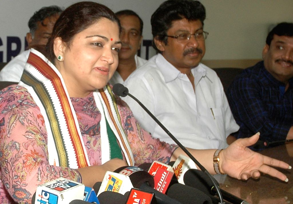 Congress spokesperson Kushboo addresses a press conference in Bengaluru on Aug 16, 2015.