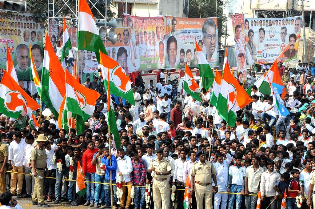 Congress supporters during the third day of 'Jana Aashirwada Yatre' rally in Kushtagi of Karnataka's Koppal District on Feb 12, 2018.