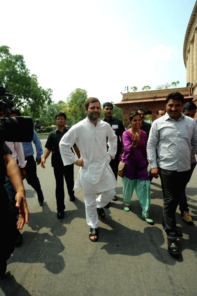 Congress vice-president and Amethi MP Rahul Gandhi at the Parliament in New Delhi on July 15, 2014. - Rahul Gandhi