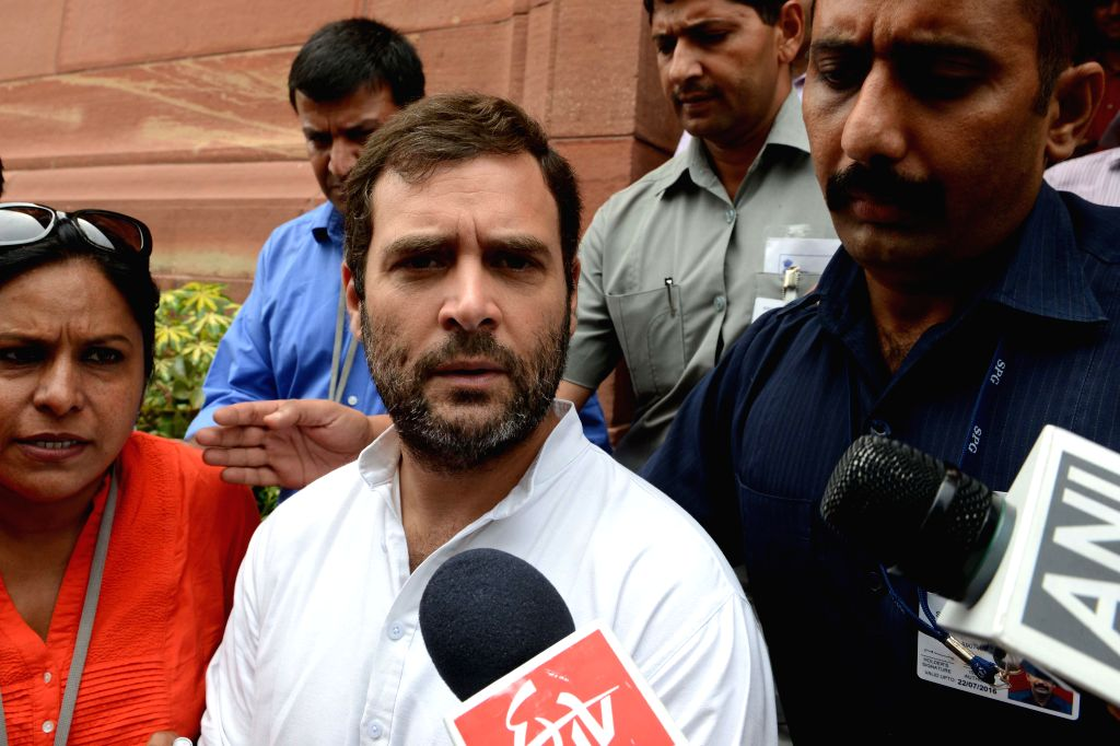 Congress Vice President and Amethi MP Rahul Gandhi talks to media at the Parliament in New Delhi on Aug 6, 2014.