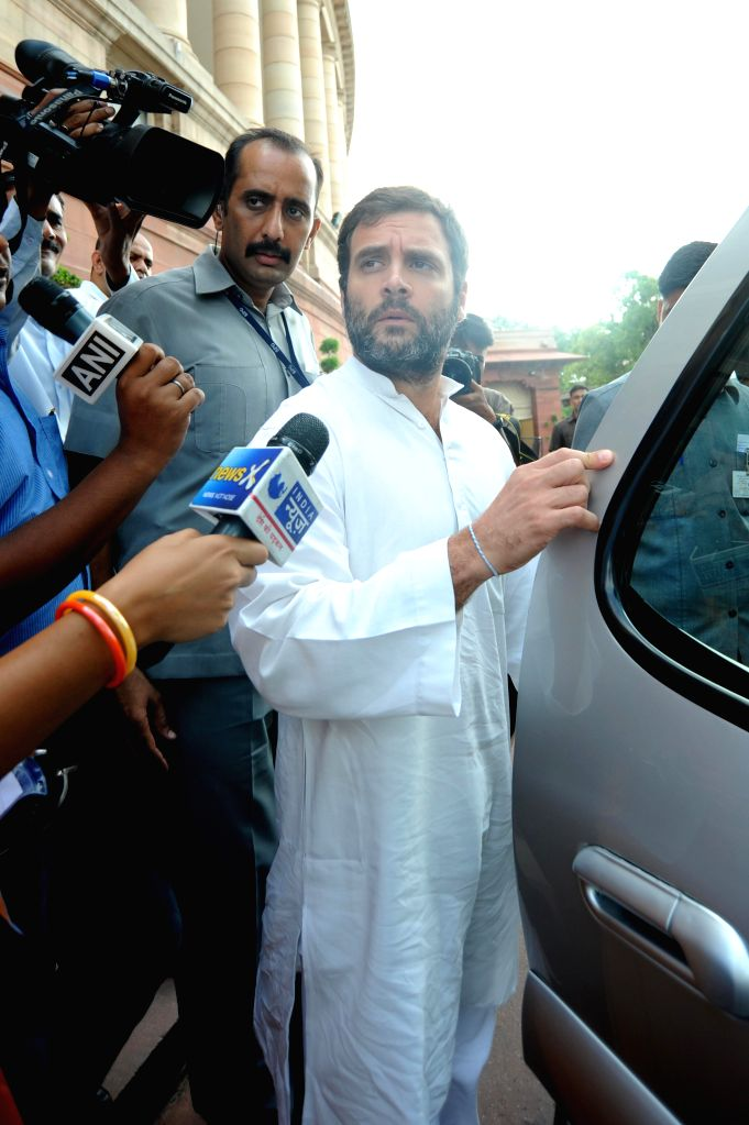 Congress Vice President and Amethi MP Rahul Gandhi talks to media at the Parliament in New Delhi on Aug 14, 2014. - Rahul Gandhi