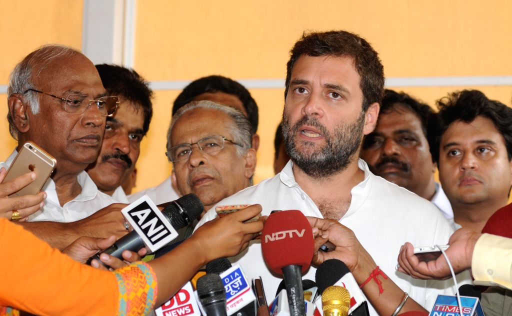 Congress Vice president Rahul Gandhi addresses press at the Parliament  in New Delhi, on Aug 13, 2015.